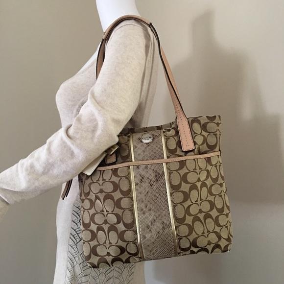 96b173a430ea Coach Handbags - Coach Purse Signature Python Stripe Tote 27362 Bag
